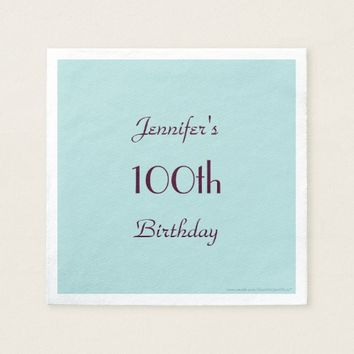 Robins Egg Blue Paper Napkins 100th Birthday Party
