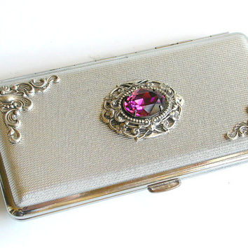 Silver Victorian Cigarette Case for King Size to 120's Vintage Style Smoking Accessories Swarovski Crystals