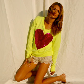 "The ""Dazzle My Love"" Sweatshirt - Sequin Heart Sweatshirt Valentine's Day Sale"
