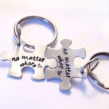No Matter What No Matter Where Key Chain Set Puzzle Pieces Key Chain Set   Best Friends Key Chain Set Mother and Daughter Key Chain