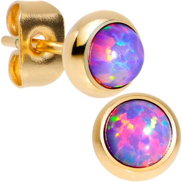 Purple Synthetic Opal Gold IP 316L Surgical Steel Stud Earrings