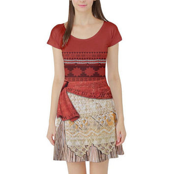 57733a9bcc Moana Inspired Short Sleeve Skater Dress