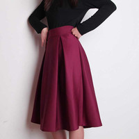 Plus Size Autumn Winter Flared Skirt  Pleated Midi Skirt Retro Style Ladies High Waist Elegant Vintage Skirts Femininas Saias