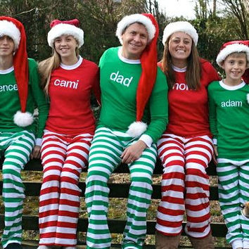 A Adult Christmas Pajamas Family Christmas Pajamas, Red and White and Green and White