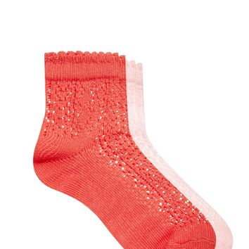 Pieces Sanne 2 Pack Pointelle Ankle Socks -