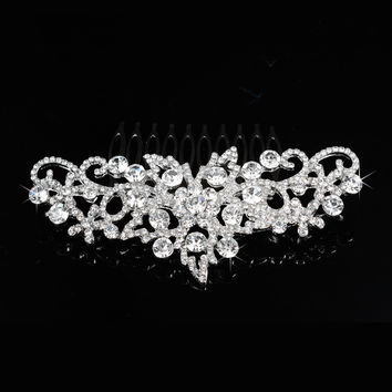 Stylish Pearls Crown Wedding Dress Accessory Brush [6044664001]