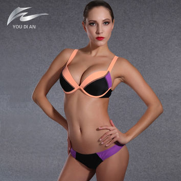 hot-selling patchwork bikini set summer new style swimwear female sexy push up bikini swimming suit for women