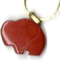 "New Carved Brick Red Jasper Gemstone Buffalo Pendant w/ 18"" gold-tone chain"