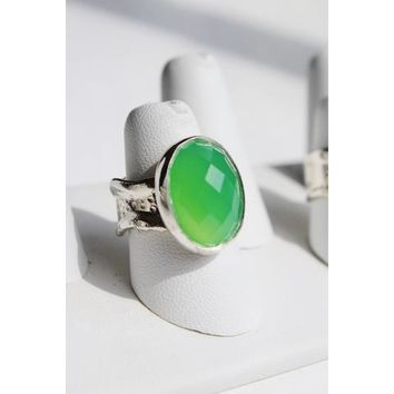 RRC - 26-501 - Ripple Ring Assorted Stones - Green Chalcedony