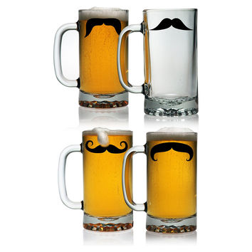Mustache Beer Mugs, Set of 4, Acrylic / Lucite, Tumblers, Water & Juice
