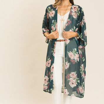 Willow Hunter Green Floral Kimono Cover-Up