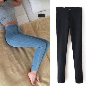 DCC3W Slim Jeans For Women Skinny High Waist Jeans Woman Blue Denim Pencil Pants Stretch Waist Women Jeans Black Pants Calca Feminina