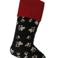 Faux Wool Christmas Stocking Dog Paws, Black And White Red