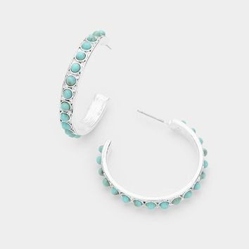 "1.25"" turquoise stone hoop earrings pierced boho"