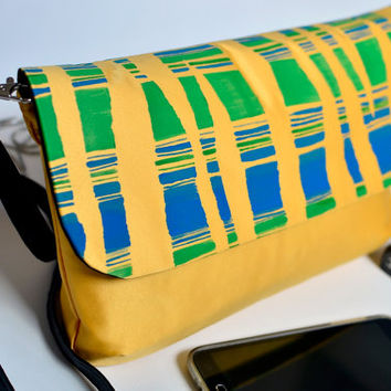 Blue and green stripes clutch, Striped convertible clutch, Cross body bag, Yellow hand painted purse, Party bag, Original print purse
