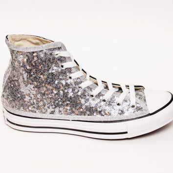 Tiny Sequin | Starlight Silver with Black Stripes Converse Canvas Hi Top Sneaker Tennis Shoes