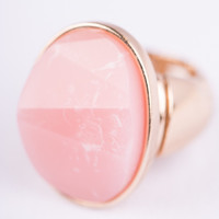 Faceted Stone Ring, Pink