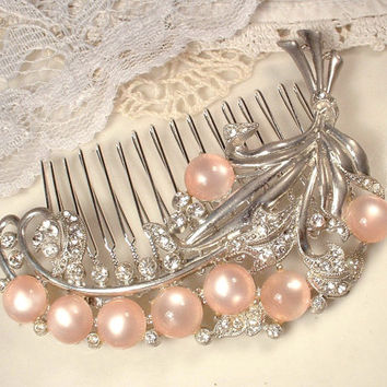 1920s Art Deco Dusty Blush Pink & Clear Rhinestone Bridal Hair Comb, Antique Crystal Large Floral Spray 1930s Headpiece, Wedding Accessory