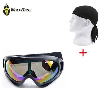 WOLFBIKE Men's Cycling Glasses Ski Goggles Paintball Motorcycle Eyewear+Outdoor Cycling Headband Caps Quick-dry Riding Bandana