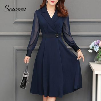 Pleated Long Sleeve Midi Dress High Waist Notched Collar Navy-blue Midi Dress