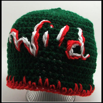 Crochet Hat. Minnesota Wild Inspired hat. Men's Size. MN. Wild. Green. Made by Bead Gs on ETSY