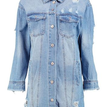 Distressed Longline Denim Jacket | Boohoo