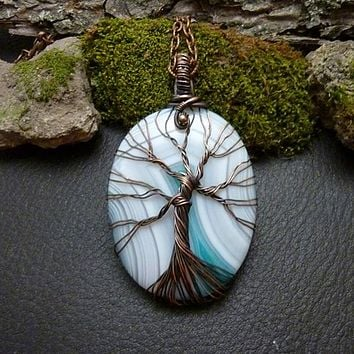 Sky-Striped Agate Tree of Life Wire Wrap Necklace