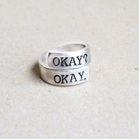 "TFIOS ""Okay"" Ring // Hand-Stamped // Aluminum"