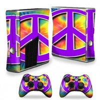 Protective Vinyl Skin Decal Cover for Microsoft Xbox 360 S Slim + 2 Controller Skins Sticker Skins Hippie Time