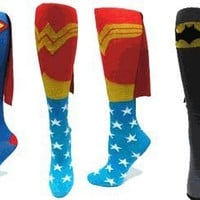 Superman Knee High Cape Sock, Blue and Red - One Size