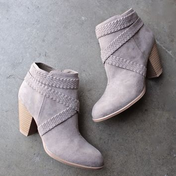 a rare braid taupe suede booties
