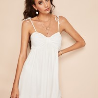 Self Tie Shoulder Shirred Back Bustier Cami Dress