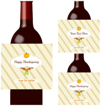 SALE Thanksgiving Decoration - 6 Wine or Beer Thanksgiving  Labels - Thanksgiving Party Waterproof Beer Stickers - Free Personalization