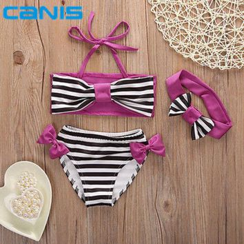 DCCKHG7 Cute baby little girls rain bow Fringe string Bikini swimsuit bathing suit for kid toddler Swimwear Biquini infantils