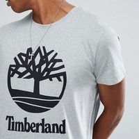 Timberland Stacked Logo T-Shirt in Gray Marl at asos.com