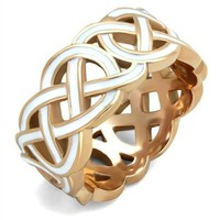 Celtic White Epoxy Rose Gold Stainless Steel Band Ring