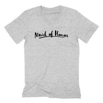 Maid of honor  hen party  gift ideas for her wedding and bridal party   V Neck T Shirt