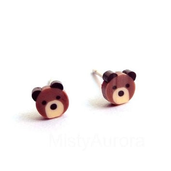 Teddy Bear Stud Earrings - Animal Jewelry - Brown Bear (E077)
