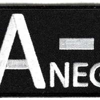 """Embroidered Iron On Patch - A Negative Blood Type 3"""" Patch"""
