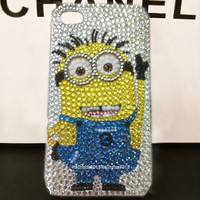 Free Phone Case & Lovely  Minions of Despicable Me Sticker DIY Deco Kit Decoden Kit Cabochon Deco Kit For DIY Cell Phone iPhone 4G 4S 5 Case