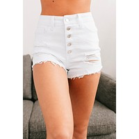 By The Shore Distressed Button Up Shorts (White)