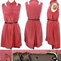 Simple Cut Out Dress - Rust