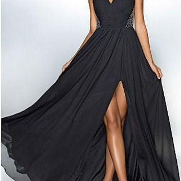 Black Sequin Draped Slit Banquet Flowy Elegant Party For Wedding Maxi Dress