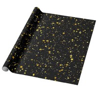 Glitter Stars3 - Gold Black Wrapping Paper