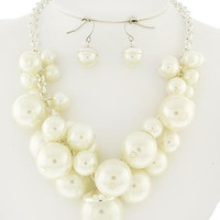Pearl Cluster Bridal Necklace & Earring Set