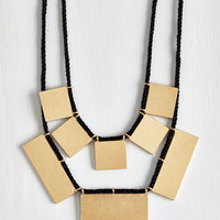 ModCloth Boho My Geo My Necklace in Gold Rectangles