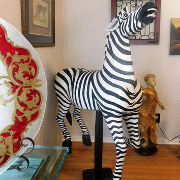 Hand Carved Wood Life Size Zebra Carousel Horse