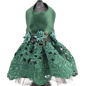 Green Satin and Lace Harness Dog Dress