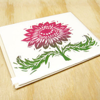 Single Card - Magenta Pink Flower Card - 1 Block Printed Card - Valentines Day - Floral