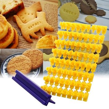 DIY Alphabet Cake Mould Letter Impress Biscuit Cookie Cutter Press Stamp Embosser Fondant Mold